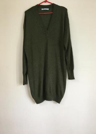 Трикотажное платье свитер zara свежие коллекции
