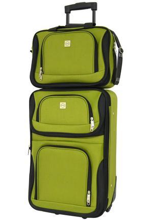 Комплект сумка и чемодан тканевый средний m на 2 колёсах bonro best (зеленый / green)