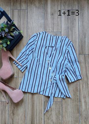 Zara льняная базовая блузка xs на запах лен хлопок в полоску рубашка блуза рукав