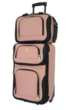 Комплект сумка и чемодан тканевый средний m на 2 колёсах bonro best (пудровый / pink)