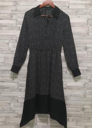 Красивое ассиметричное платье миди в горошек