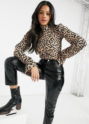 Блуза укороченная леопардовая bershka