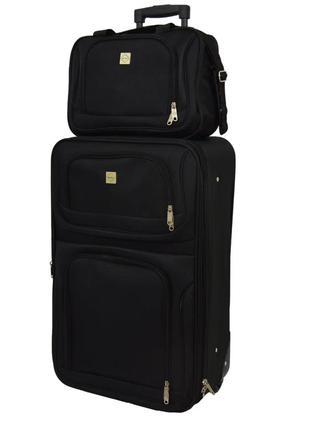 Комплект сумка и чемодан тканевый средний m на 2 колёсах bonro best (черный / black)