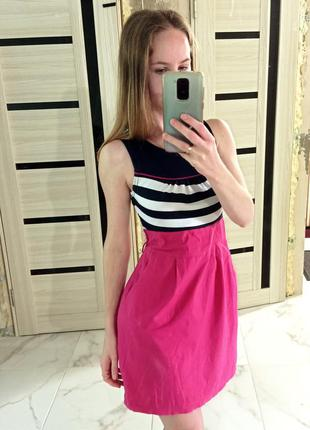 Платье, сарафан в полоску с малиновой юбкой-колокол