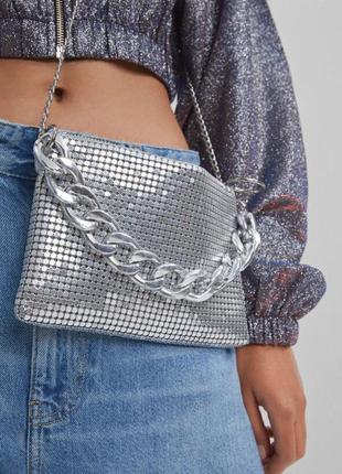 Серебрянная сумка bershka