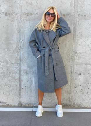 Кашемировое пальто женское миди деми с поясом