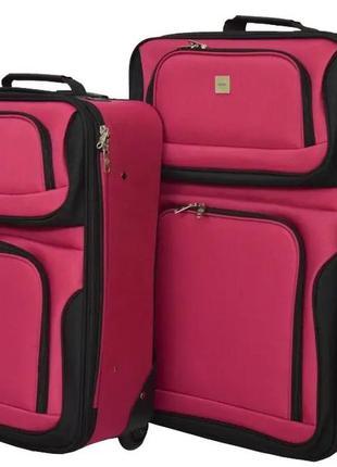 Комплект тканевых чемоданов маленький s и средний m на 2 колёсах bonro best 2 шт (вишневый/pink)