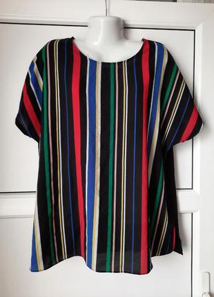 Женская, лёгкая кофточка, блуза в разноцветную полоску. papaya curve.