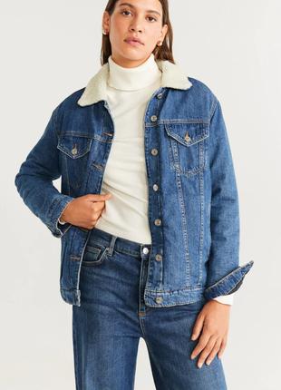 Куртка, джинсовая куртка, ддинсовка с утеплителем, теплая лдинсовая куртка mango