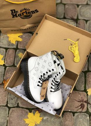 Ботинки сапоги dr martens jadon louis vuitton white black