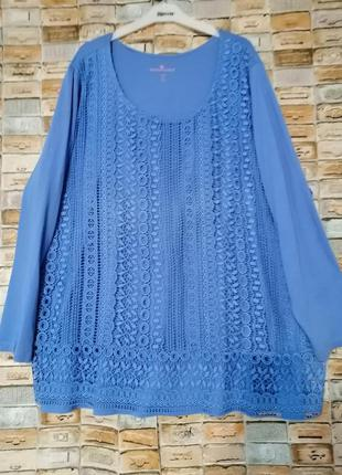 Трикотажная блуза с кружевом