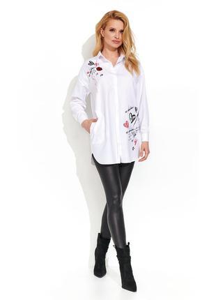 Туника на пуговицах белая zaps samali 005 с принтом, аппликацией вышивкой со стразами осенняя зимняя
