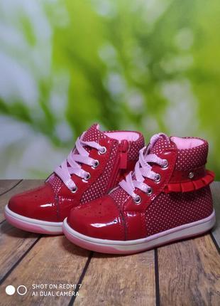 Красные демисезонные ботинки для девочки в горошек 22-14 см