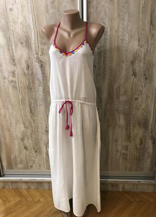 Пляжное натуральное хлопковое котоновое платье пляжная туника пляжный сарафан белое белая макси в пол длинный длинное christophe sauvat