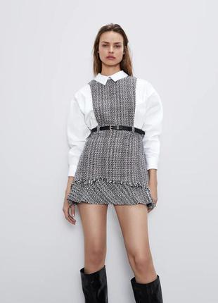 Платье с поясом коттон zara 2021