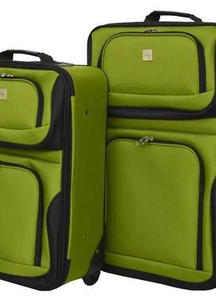 Комплект тканевых чемоданов маленький s и средний m на 2 колёсах bonro best 2 шт (зеленый/green)