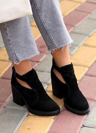Модельные черные замшевые женские ботинки ботильоны натуральная замша    к. 11727