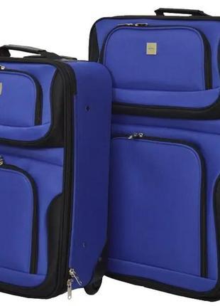 Комплект тканевых чемоданов маленький s и средний m на 2 колёсах bonro best 2 шт (синий/blue)