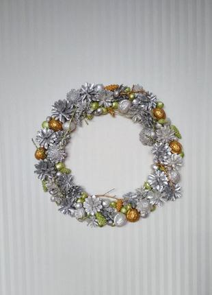 Декоративный новогодний венок, новорічний вінок