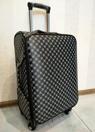 Шикарный средний чемодан из канваса кожзама