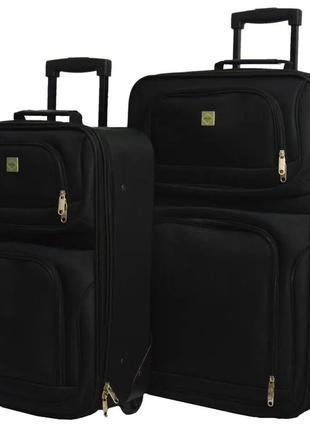 Комплект тканевых чемоданов маленький s и средний m на 2 колёсах bonro best 2 шт (черный/black)