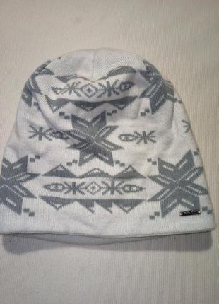 Шапка зимняя. шапка в узорах подкладка флис. шапка в орнамент,  узор снежинка,  снег