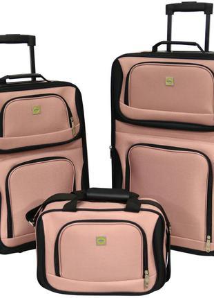 Комплект чемоданов тканевый на 2 колёсах bonro best 2 шт и дорожная сумка (пудровый/pink)