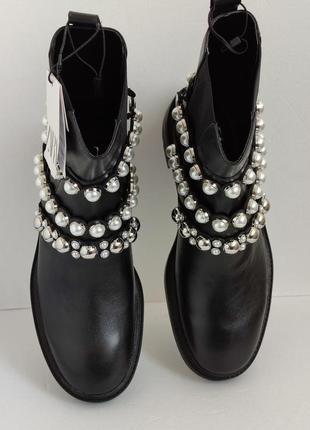 Новые кожаные демисезонные ботинки полусапожки zara оригинал шкіряні черевики 🔥🔥🔥