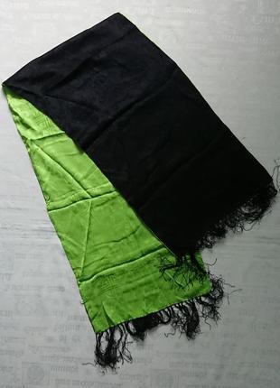 Эффектный шелковый шарф с бахромой и узором, двусторонний #100%шелк# 1.43мх34см
