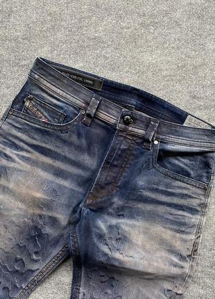 Круті стильні завужені джинси diesel thavar italy slim skinny jeans garment dyed
