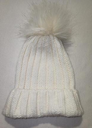 Женская шапка-бини. стильная шапка с отворотом.  шапка. вязаная шапка