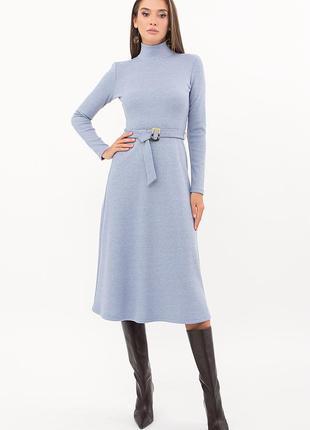 Трикотажное теплое голубое платье- зима