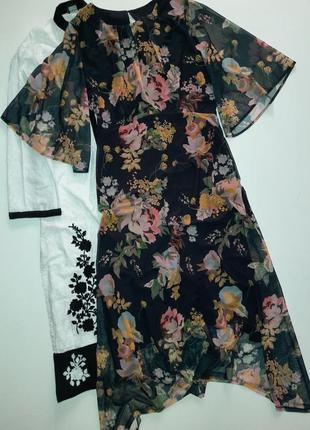 Шикарное миди платье/миди платье цветочный принт асиметричный низ