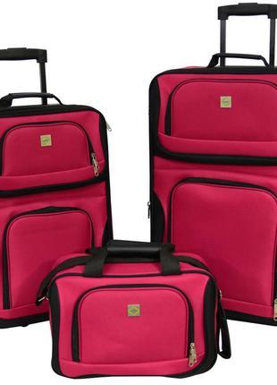 Комплект чемоданов тканевый на 2 колёсах bonro best 2 шт и дорожная сумка (вишневый/pink)
