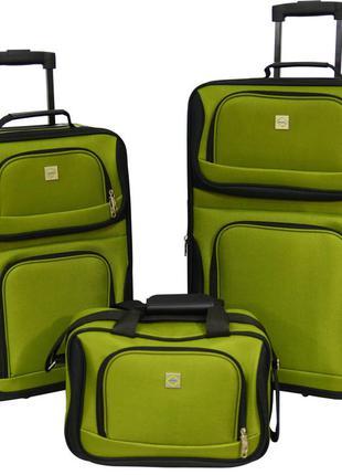Комплект чемоданов тканевый на 2 колёсах bonro best 2 шт и дорожная сумка (зеленый/green)