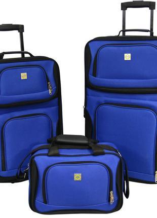 Комплект чемоданов тканевый на 2 колёсах bonro best 2 шт и дорожная сумка (синий/blue)