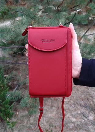 Сумка клатч кошелек с карманом для телефона forever baellerry red
