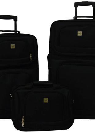 Комплект чемоданов тканевый на 2 колёсах bonro best 2 шт и дорожная сумка (черный/black)