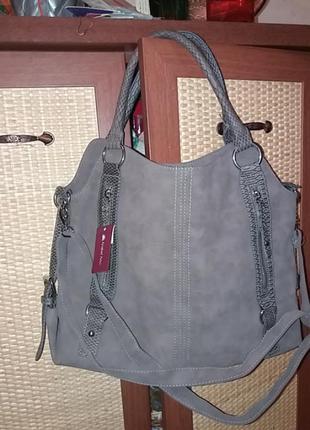 Фирменая натуральная замшевая сумка объемной формы