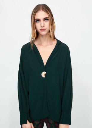 Блуза зеленая новая вискозная с золотой пуговицей zara xs