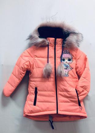 Куртка детская для девочки, зимняя, на белом меху