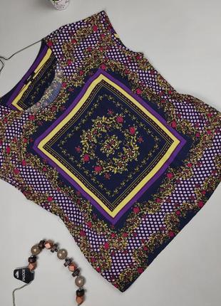 Блуза красивая вискозная яркая натуральная в принт uk 16/44/xl