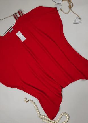 Блуза красная шикарная большого размера papaya uk 18/46/xxl