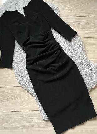 Чёрное миди платье в рубчик по фигуре с молнией на спине xs s