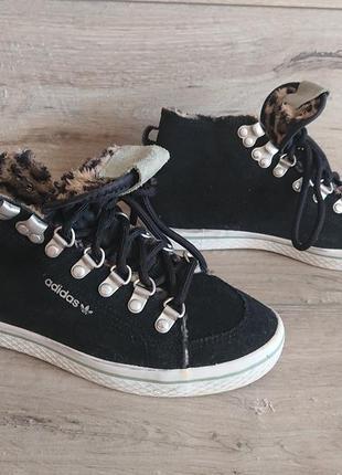 Кеды кроссовки хай-топы адидас adidas originals honey hook 37-38р 24,5 см замш