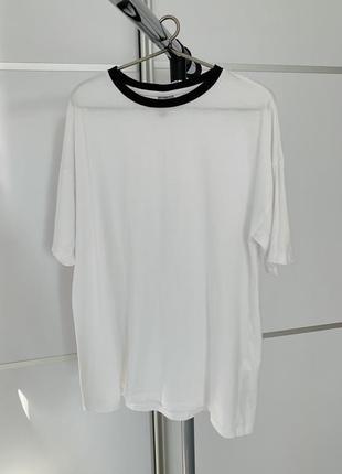 Белая футболка оверсайз, летняя футболка, свободная футболка.