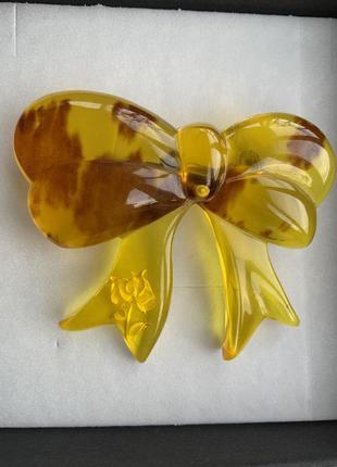 Брошь японская винтаж панцирь черепахи бант цвет жёлтый янтарный
