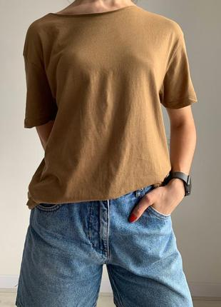 Коричневая футболка, женская футболка, футболка оверсайз.