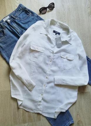Льняная блузка свободного кроя, льняная рубашка оверсайз, рубашка прямого кроя