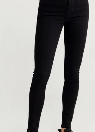 Черные штаны джинсы высокая посадка